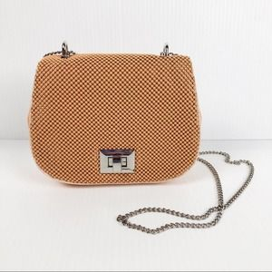 Whiting & Davis Peach Bubble Mesh Mini Saddle Bag
